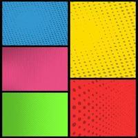 ensemble de panneaux de demi-teintes colorés de bande dessinée vierge