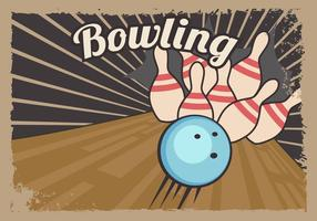 Modèle rétro de piste de bowling vecteur