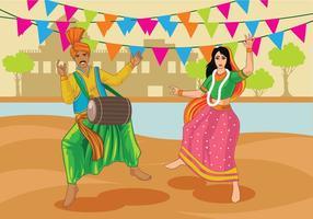 Couple de vecteurs exécutant la danse folklorique de Bhangra en Inde