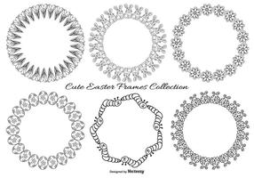 Collection Frames Mignon Sketchy Pâques vecteur