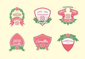 Camellia Flowers Pink Label vecteur