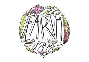 Fleurs mignon avec Lettrage pour Jour de la Terre Vector