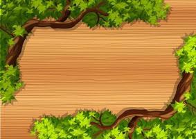 vue de dessus de la table en bois avec des branches d'arbres