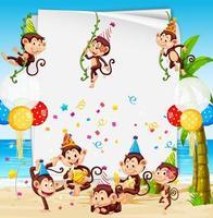 modèle de cadre en papier de fête avec des singes