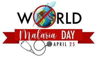 bannière de la journée mondiale du paludisme avec moustique