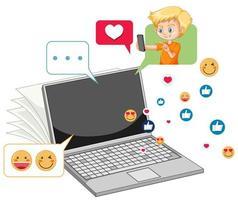 ordinateur portable avec style cartoon icône emoji