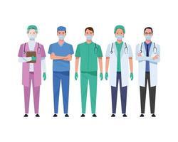 personnel médical portant des personnages de masques médicaux