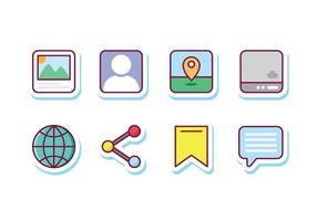 Icônes d'autocollants de médias sociaux