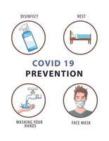 infographie affiche des méthodes de prévention covid19 vecteur