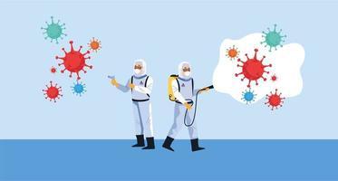 les travailleurs de la biosécurité avec des pulvérisateurs de désinfectant et des particules de covid19 vecteur