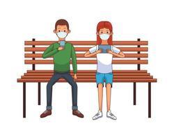 jeune couple portant un masque médical à l'aide de la technologie