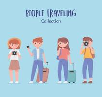 collection de jeunes voyageant