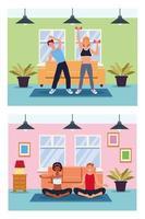 personnes pratiquant l & # 39; exercice dans la maison vecteur