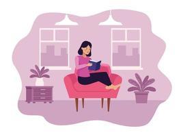 femme, dans, salon, lecture, livre, scène vecteur