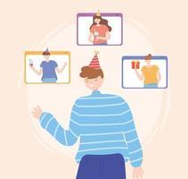 amis faisant la fête et célébrant en ligne