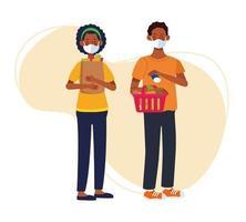 couple, achats, dans, supermarché, à, masques faciaux