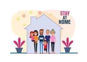 les membres de la famille restent à la maison, les particules de la pandémie de covid19 vecteur