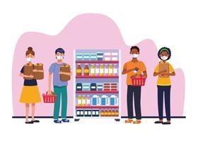 personnes faisant du shopping dans un supermarché avec des masques faciaux