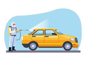 un travailleur de la biosécurité désinfecte un taxi pour covid19 vecteur