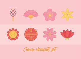 jeu d'icônes d'éléments chinois