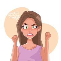 femme en colère avec caractère de symptôme de stress
