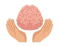 mains protégeant le cerveau humain, icône de soins de santé mentale
