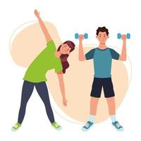 couple soulevant des haltères, personnages d'athlètes vecteur
