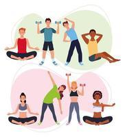 personnes pratiquant l & # 39; exercice, personnages sportifs vecteur