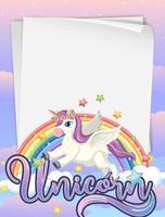 bannière de papier vierge avec licorne mignonne
