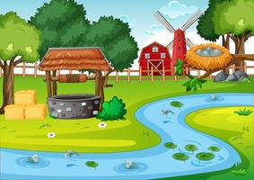 grange et moulin à vent dans la scène de la ferme.