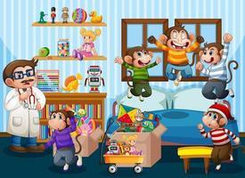 cinq petits singes sautant sur la scène du lit