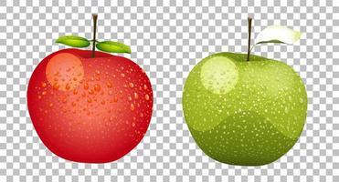 pommes vertes et rouges vecteur
