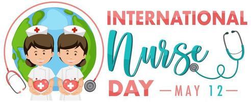 bannière de la journée internationale des infirmières avec des infirmières vecteur