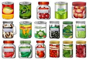ensemble de différentes conserves et aliments dans des bocaux vecteur