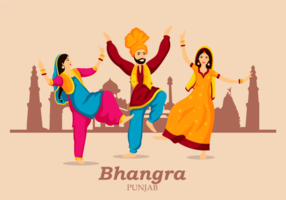 Bhangra Folk Dance Illustration