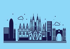Sagrada Familia Linear Vector Background