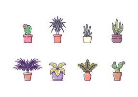 Ensemble d'icônes de plantes d'intérieur vecteur