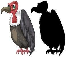 personnages de vautour et sa silhouette sur fond blanc