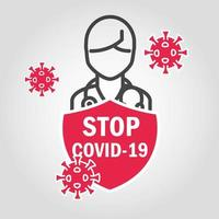 arrêtez covid-19 avec pictogramme