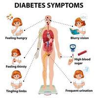 infographie des symptômes du diabète vecteur
