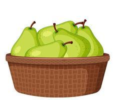 poires vertes dans le panier isolé vecteur