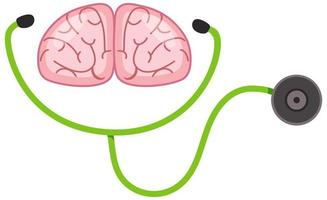 stéthoscope et cerveau humain sur fond blanc