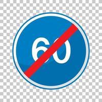 panneau de signalisation de limite de vitesse bleue 60