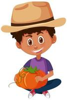 personnage de dessin animé enfants tenant des légumes
