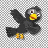 personnage de dessin animé mignon oiseau noir