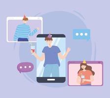 personnes participant à un appel vidéo faisant la fête en ligne