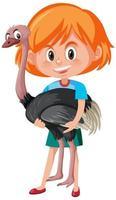 fille tenant un personnage de dessin animé animal mignon vecteur