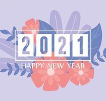 Bannière de bonne année 2021 avec des fleurs vecteur