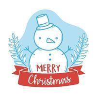 joyeux noël composition avec bonhomme de neige