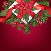 carte de voeux joyeux noël avec boîte-cadeau vecteur